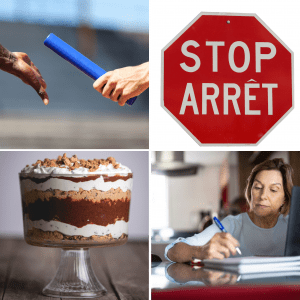 four-images-passing-a-baton-stop-sign-woman-writing-at-a-desk-trifle-dessert